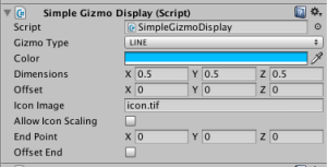 The options available in the Inspector for SimpleGizmoDisplay.